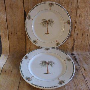 4 Gibson Bahama Palm Tree  Dinner Plates